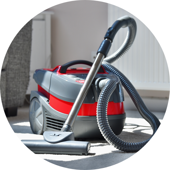 Red and gray small vacuum